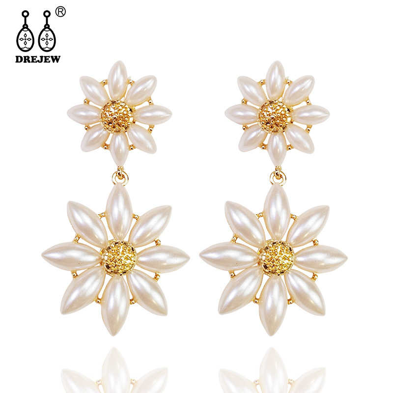 DREJEW Big Small Flower Ethnic Statement Earrings Sets Cute Christmas 925 Crystal Stud Earrings for Women Wedding Jewelry HE8911