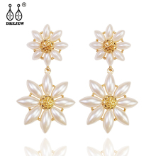 DREJEW Big Small Flower Ethnic Statement Earrings Sets 2019 Summer 925 Crystal Stud for Women Wedding Jewelry HE8911