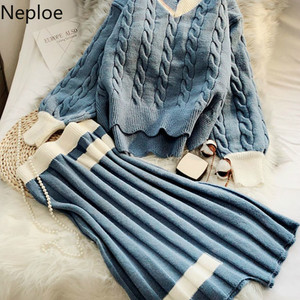 Neploe V Neck Knit 2 Pcs Women Set O Neck Pullover Twist Jumper Sweater + High Waist Hip Pleat Skirt Color Match Conjuntos 48222