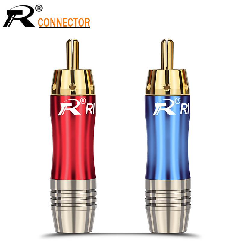 100pcs Gold plated audio adapter RCA Connector Wire male Plug  blue&red pigtail speaker plug for 8MM Cable