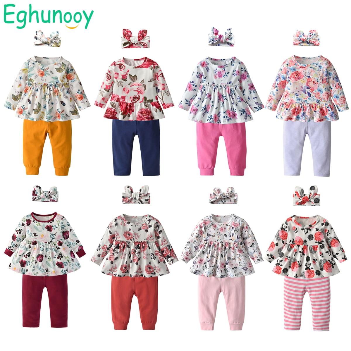 Комплект одежды для маленьких девочек, милый Повседневный Топ с цветочным принтом и штаны, повязка на голову, Одежда для новорожденных на ве...