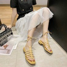 2020 summer new ankle lace-up sandals Roman hollow sandals female retro fashion wild low-heeled sandals Z939 black leather look lace up ladies heeled sandals