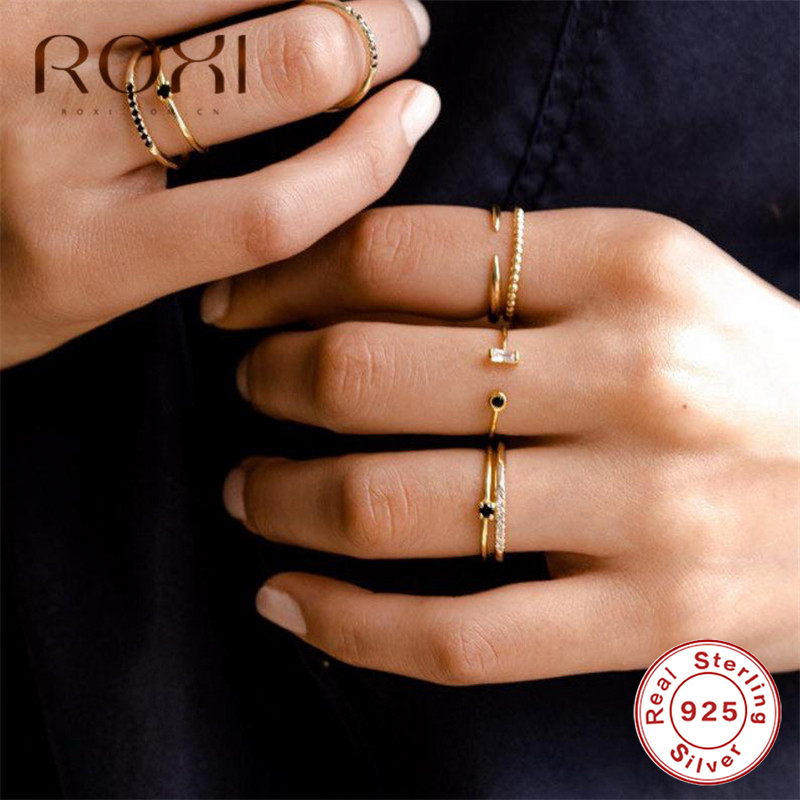 ROXI 925 Sterling Silver Ring Opening Golden Luxury Austria Crystal Rings For Women Gift Adjustable Rounds CZ Open Midi Toe Ring