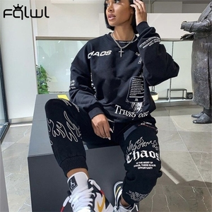FQLWL Letter Print Loose 2 Two Piece Set Women Outfit Streetwear Tracksuit Oversized Sweatshirt Joggers Women Pants Matching Set