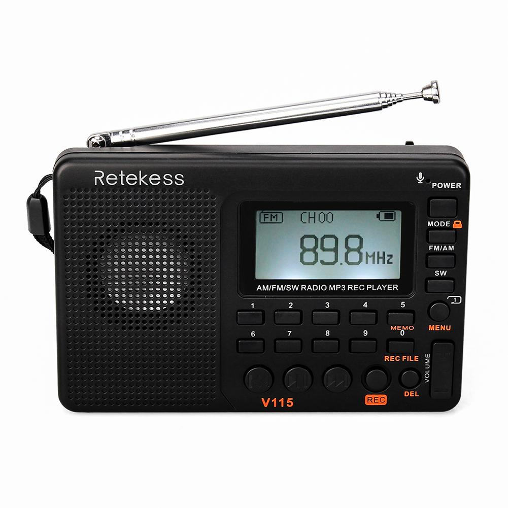 RETEKESS V115 FM Radio Musik-Player AM SW Tasche Empfänger Kurzwelligen Transistor TF Karte USB REC Recorder FM Tuner Adapter