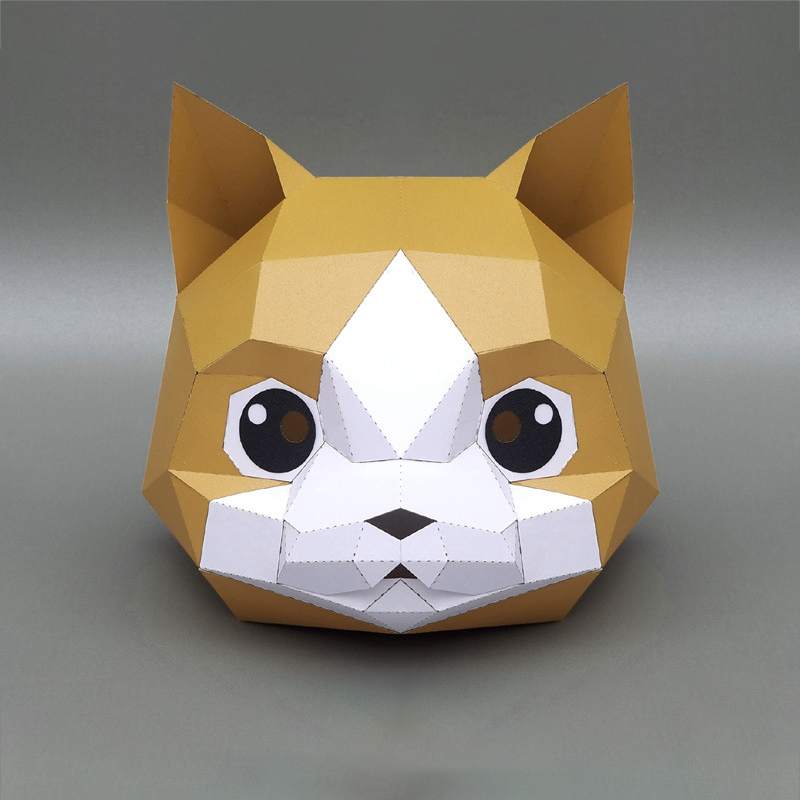 3D Paper Mask Fashion Animal and Game Role-Playing Costume DIY Handmade Paper Model Mask Christmas Halloween Party Gift 10