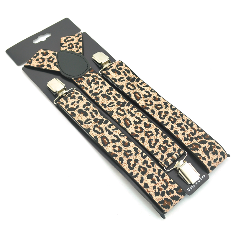 Fashion Leopard Suspender Men's Unisex Clip-on Braces Elastic 3.5cm Wide Suspenders Y-back Strap Good Quality Braces Wholesale