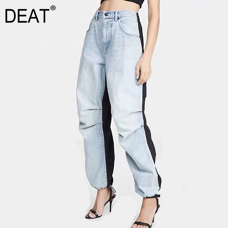 DEAT 2020 New Spring Fashion High Waist Zippers Washted Denim Contrast Colors Full Length Pants Female Jeans WK71205L