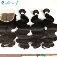 30 inch brazilian human hair weave body wave 3 4 bundles with closure extensions wave formers bundles deals and closure natural
