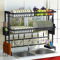 Escurridor de vajilla ajustable de 1/2 niveles, estante de secado de acero inoxidable para fregadero y cocina