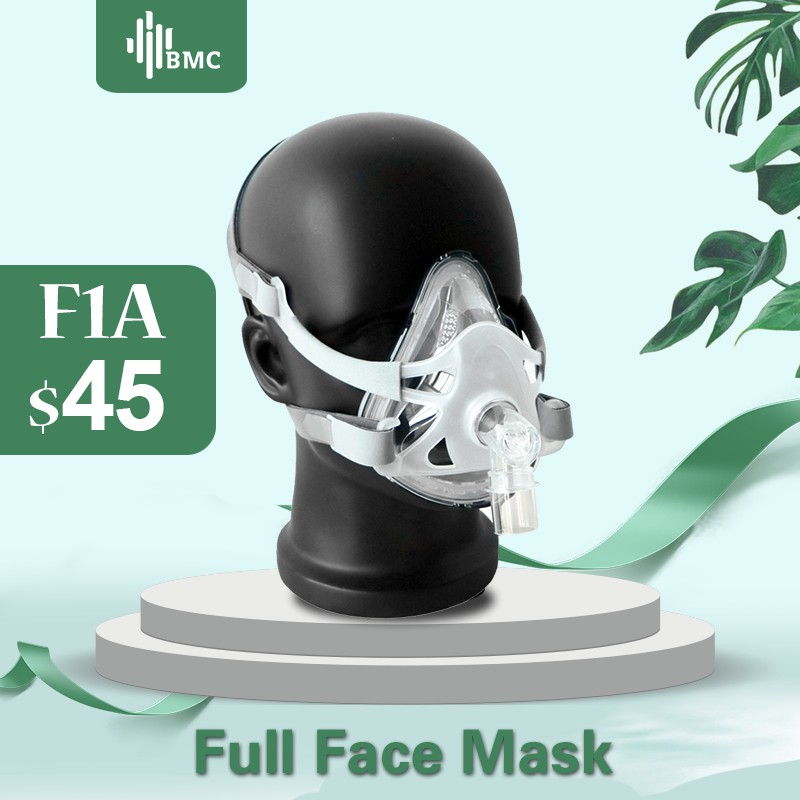 BMC FM1A Full Face Mask For CPAP Bipap Machine COPD Snoring And Sleep Therapy Size SML Connect Face And Hose With Headgear Clips