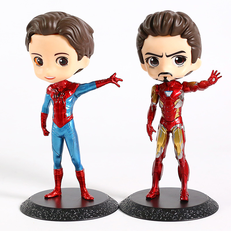 QPosket Iron Man Tony Stark / Spiderman Peter Parker Action Figure Toy Doll Christmas Gift image