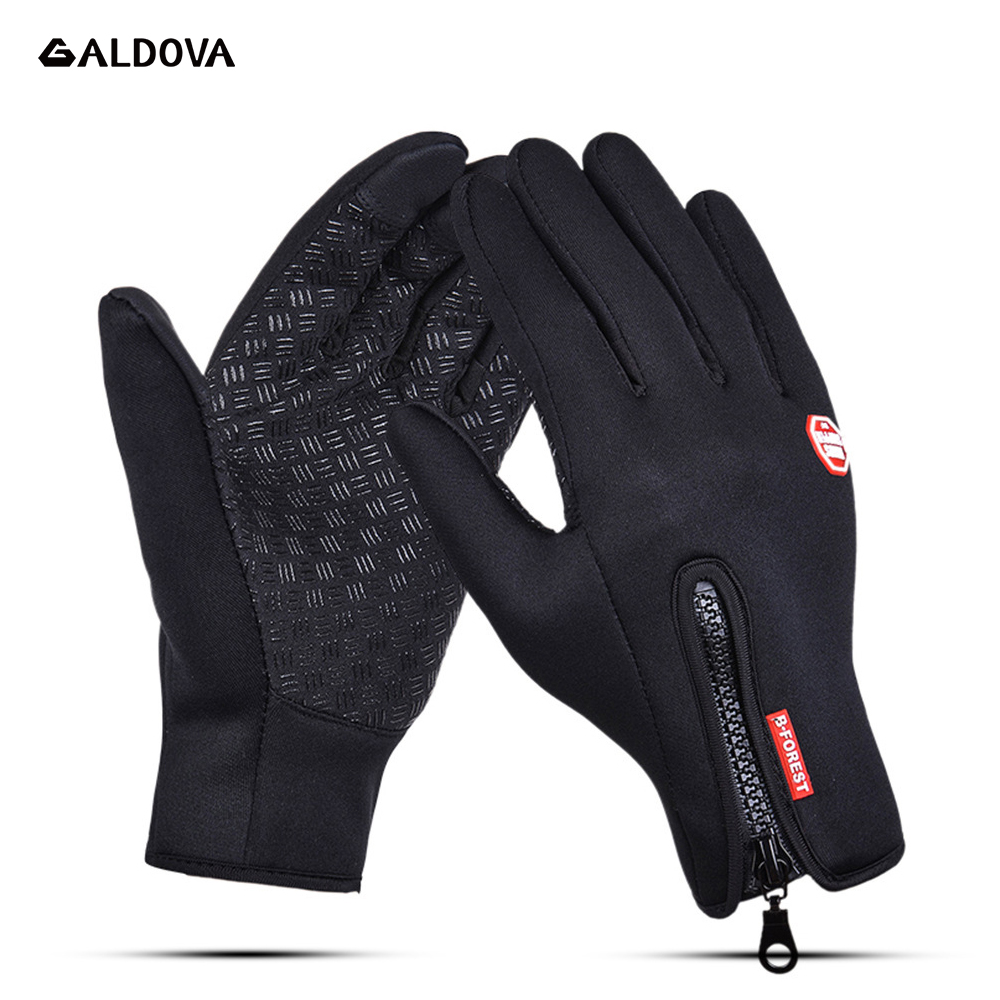 Outdoor Cycling Gloves Winter Warm Sports Hiking Waterprrof Bicycle Bike Windstopper Simulated LEather For Men Women