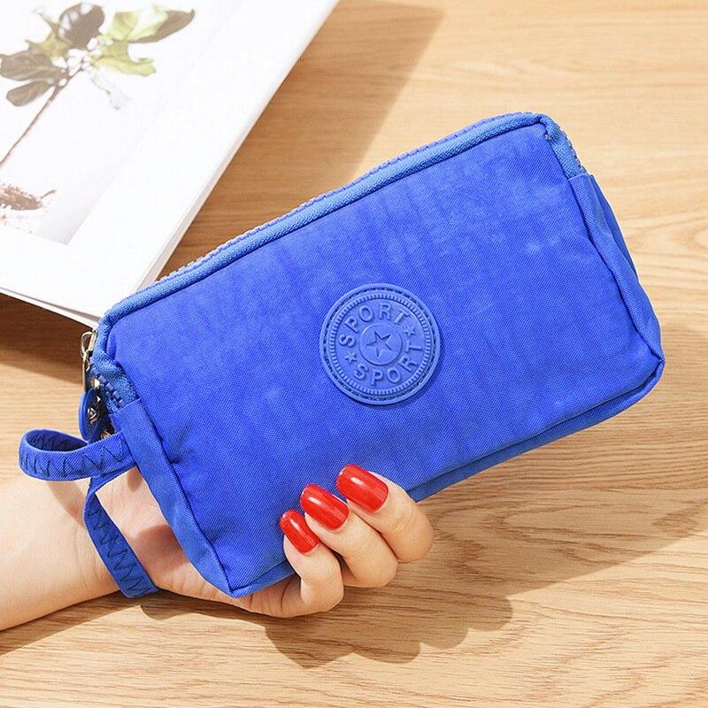JODIMITTY 2020 Fashion Womens Solid 3 Layer Canvas Phone Bag Short Wallet Three-Layer Zipper Coin Card Key Purse Fast Shipping