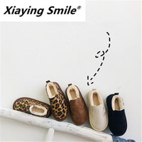 Xiaying Sorriso Crianças Sapatos de Algodão Novo Inverno 2018 Crianças Espessamento Leopard-print Botas e Flanela de Algodão Botas de Neve
