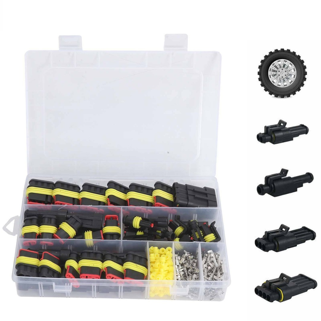 26pcs/box Electrical Wire Connector 1/2/3/4 Pins IP68 Waterproof Car Wire Cable Plug Connectors 12A Crimp Terminal Car Fuse Kits