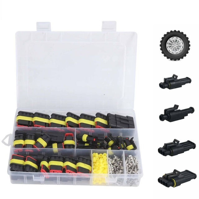 $ US $10.07 26pcs/box Electrical Wire Connector 1/2/3/4 Pins IP68 Waterproof Car Wire Cable Plug Connectors 12A Crimp Terminal Car Fuse Kits