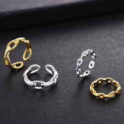 Yanqueens Trendy Fashionable Handsome Simple Wild Ring Big Hot Chain Wind Hollow out Opening Adjustable Size Couple Ring Female
