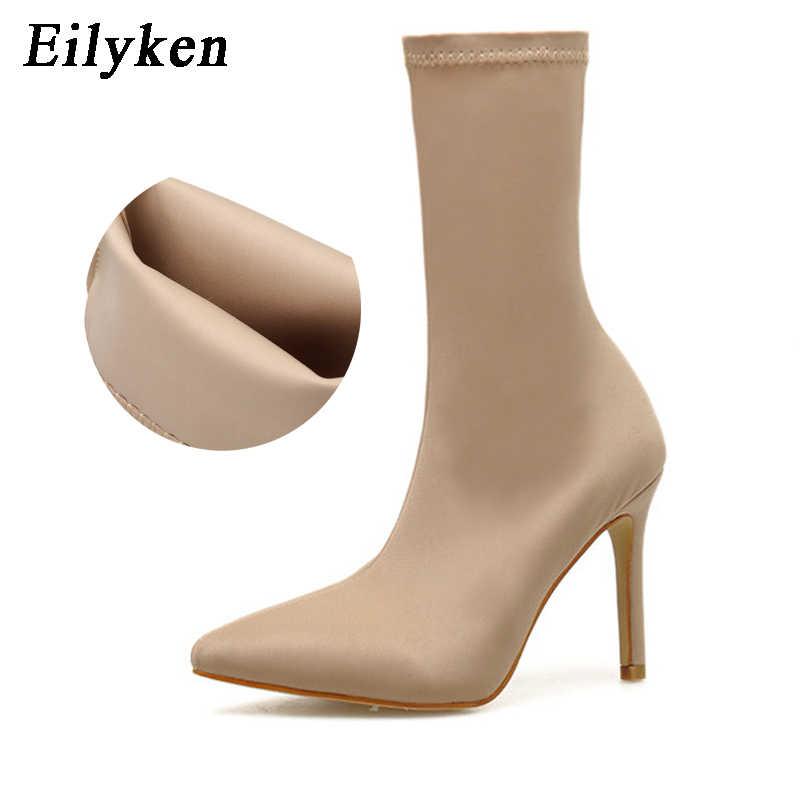 Eilyken 2020 yeni bahar moda streç kumaş çorap kadın çizmeler sivri burun yüksek topuklu ayakkabı botları kadın boyutu 35- 42