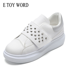 E TOY WORD 2019 White Shoes Women Fashion height Increaseing women shoes Hook & Loop Rivet Thick-soled Casual