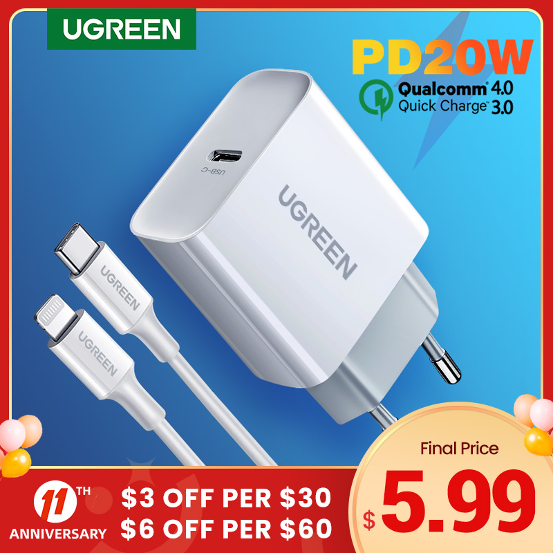 UGREEN chargeur USB type c 20W Quick Charge 4 0 3 0 QC PD pour t