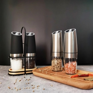 Image 5 - Pepper Mill Electric Pepper Grinder Salt Mill 2PCS with metal Stand  LED Light Grinding Tool Automatic Mills for kitchen Tools