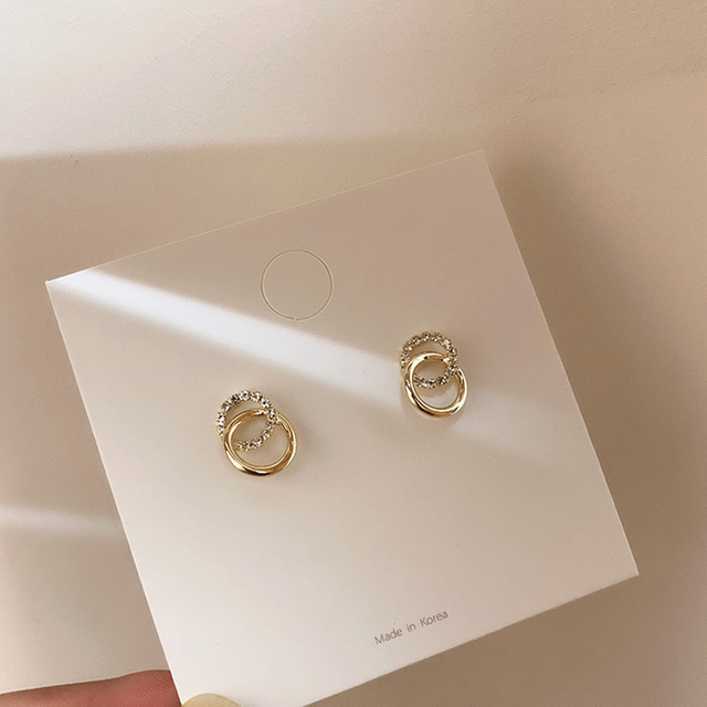 2020 Korean Simple Double Circle Gold Color Metal Rhinestone Drop Earrings For Women Fashion Small Pendientes Jewelry Gifts 5