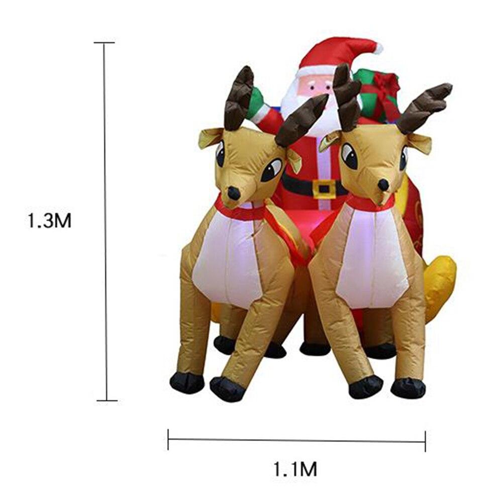 210 см гигантский надувной Санта Клаус двойной олень S светодиодный освещенный открытый Рождественский Декор новогодний декор рождественск... - 5