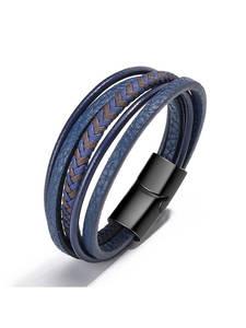 Bracelets Braided Magnetic-Buckle Men Armband ZOSHI Heren Blue-Color Trendy Genuine-Leather