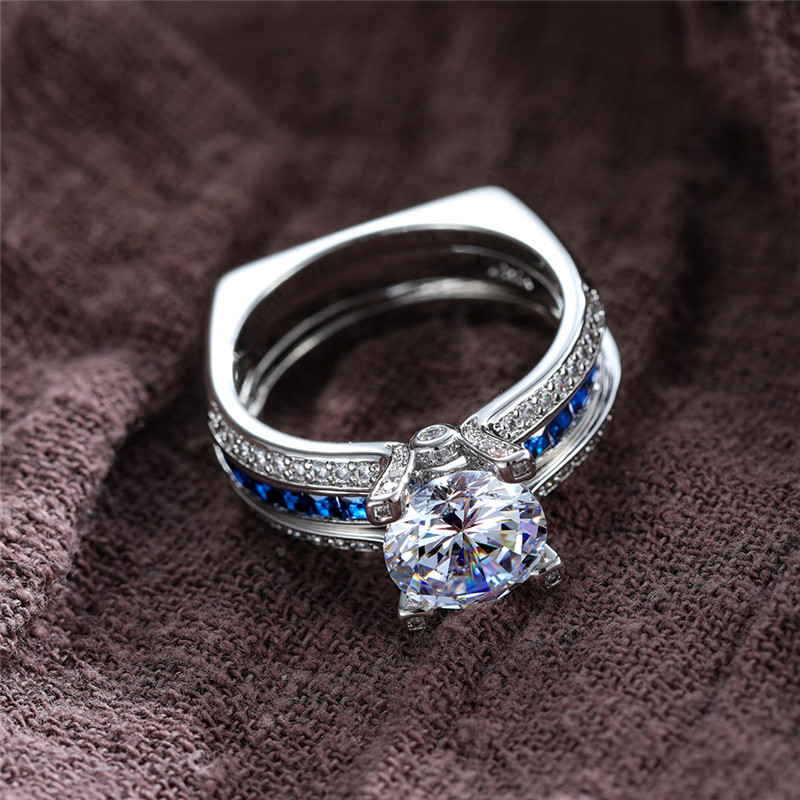 Luxury Female Natural Blue Sapphire <font><b>Ring</b></font> 100% <font><b>Real</b></font> <font><b>925</b></font> Sterling Silver Wedding <font><b>Rings</b></font> <font><b>For</b></font> <font><b>Women</b></font> Luxury Big Round Engagement <font><b>Ring</b></font> image