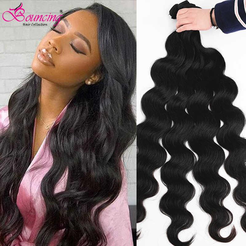Zıplayan insan saçı vücut dalga saç demetleri 32 34 36 38 40 inç brezilyalı saç demetleri doğal renk 100% Remy saç kadınlar için