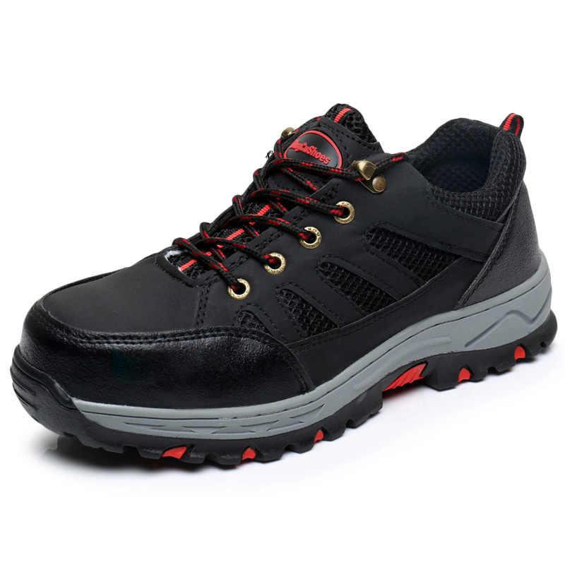 Erkek siyah güvenlik ayakkabıları çelik burun iş çizmeleri koruyucu ayakkabı açık iş ayakkabısı