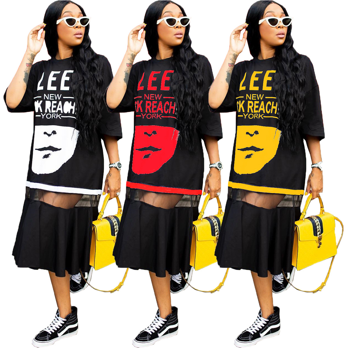 African Hip Hop <font><b>T</b></font>-<font><b>shirt</b></font> <font><b>Dress</b></font> Women Harajuku <font><b>Rock</b></font> Long Tee New Half Sleeve Loose Tops Dance Colour Block Streetwear Africa image