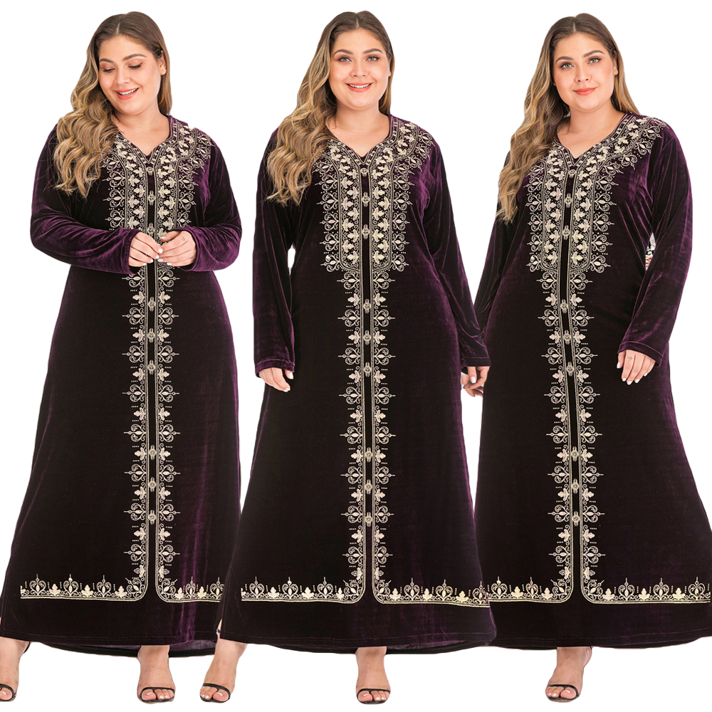 Abaya Women Kaftan Women Muslim Velvet V-neck Maxi Dress Plus Size Cocktail Robe Autumn Long Sleeve Gown Middle East Dress New