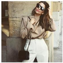 New Draped Collar Womens Blouse Elegant Long Sleeve Solid Office Blouse Ladies