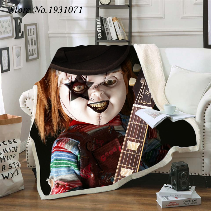 American Horror Movie 3D Printed Fleece Blanket for Beds Thick Quilt Fashion Bedspread Sherpa Throw Blanket Adults Kids 08