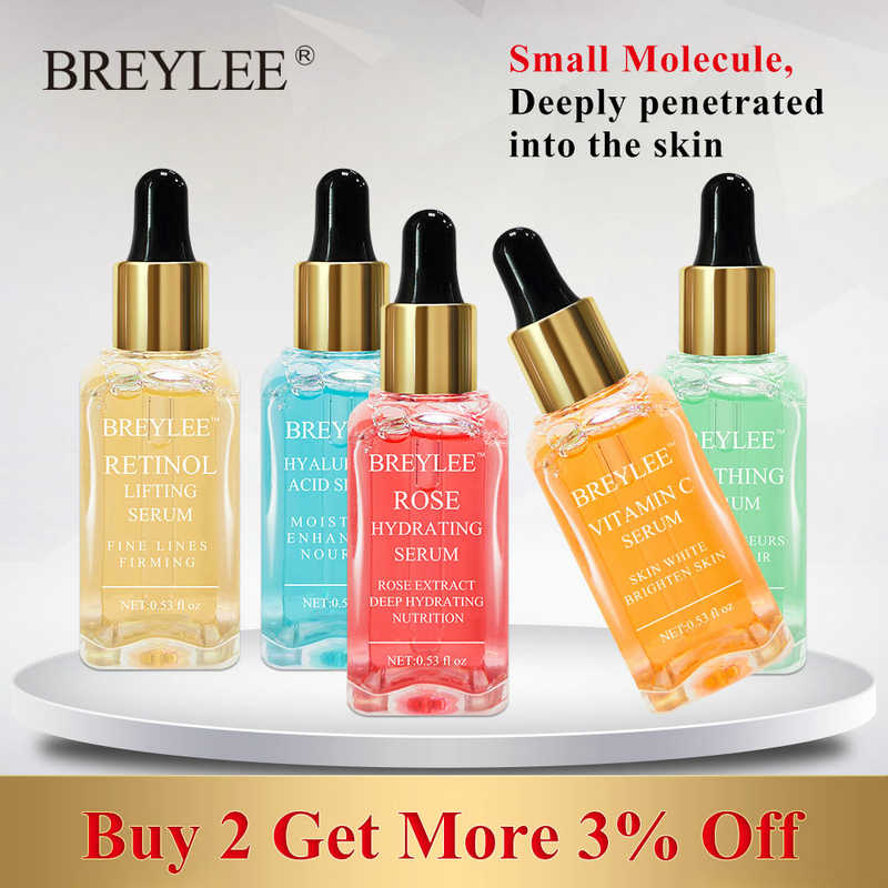 BREYLEE เซรั่ม Series Hyaluronic Acid Vitamin C Whitening Face Skin Care Rose บำรุงผิว 24k Gold บริษัท Soothing Repair Essence 1pcs