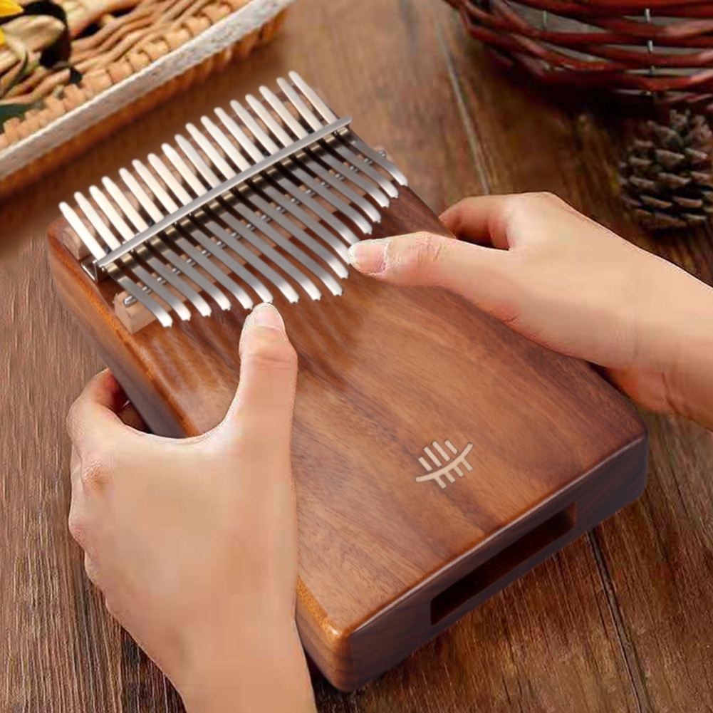 17 Keys Kalimba Thumb Piano Traditional Plucked String Instruments With Tuning Hammer Musical Scale Sticker Cloth Bag