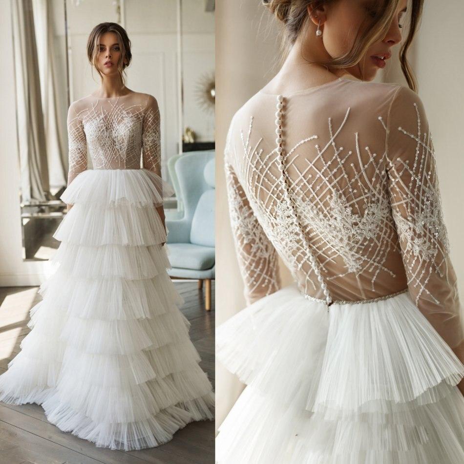 A Line Cake Wedding Dresses Long Sleeves 2020 Sweep Train Buttons Back Sequins Bohemian Beach Wedding Gowns Vestido De Novia