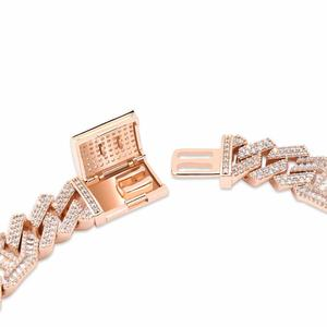 """Image 4 - JINAO  New Style Male Jewelry Bracelet Hip Hop Rock Copper Gold Color Plated Iced Out CZ Stone 14mm Bracelets With 7"""" 8"""""""