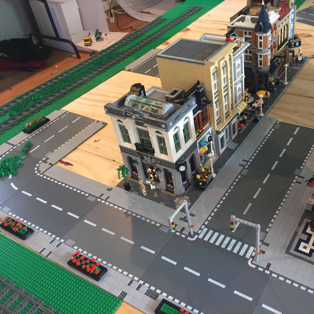 Building Block Bottom Plate Road Street City Downtown Scene Streetscape Toys