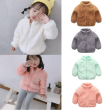 New Fashion Baby Boy Girl Coat Winter Autumn Warm Solid Zipper Warm Double-sided Wool Cloth With Soft Nap Cute Fall Coat