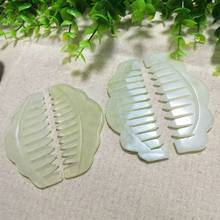 Natural Jade Stone Gua Sha Massage Comb Head Acpuncture Pressure Therapy Scraper Q84B(China)