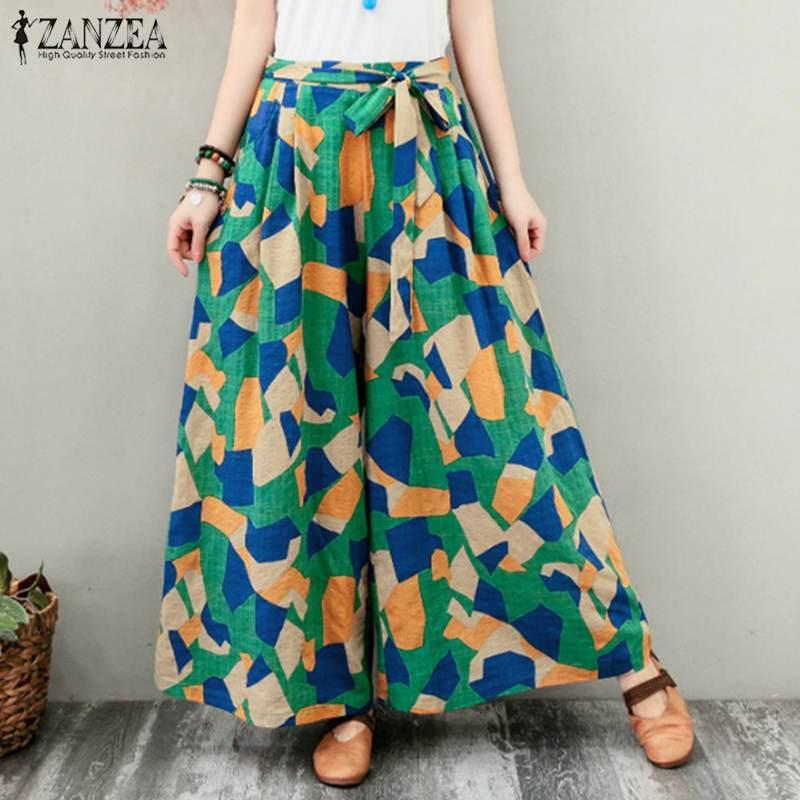 ZANZEA Women   Wide     Leg     Pants   Vintage Geometric Printed Long Trousers Summer Beach   Pants   Casual Lace Up Loose Pantalon Flare   Pants