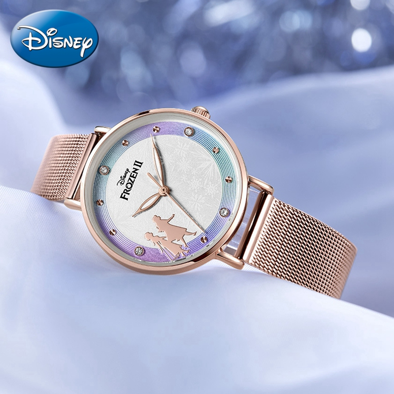 Frozen Ⅱ Bling Crystal Beautiful Snowflake Pretty Girls Quartz Watches Womens Stainless Steel Band Wrist Watch Kids Clock New