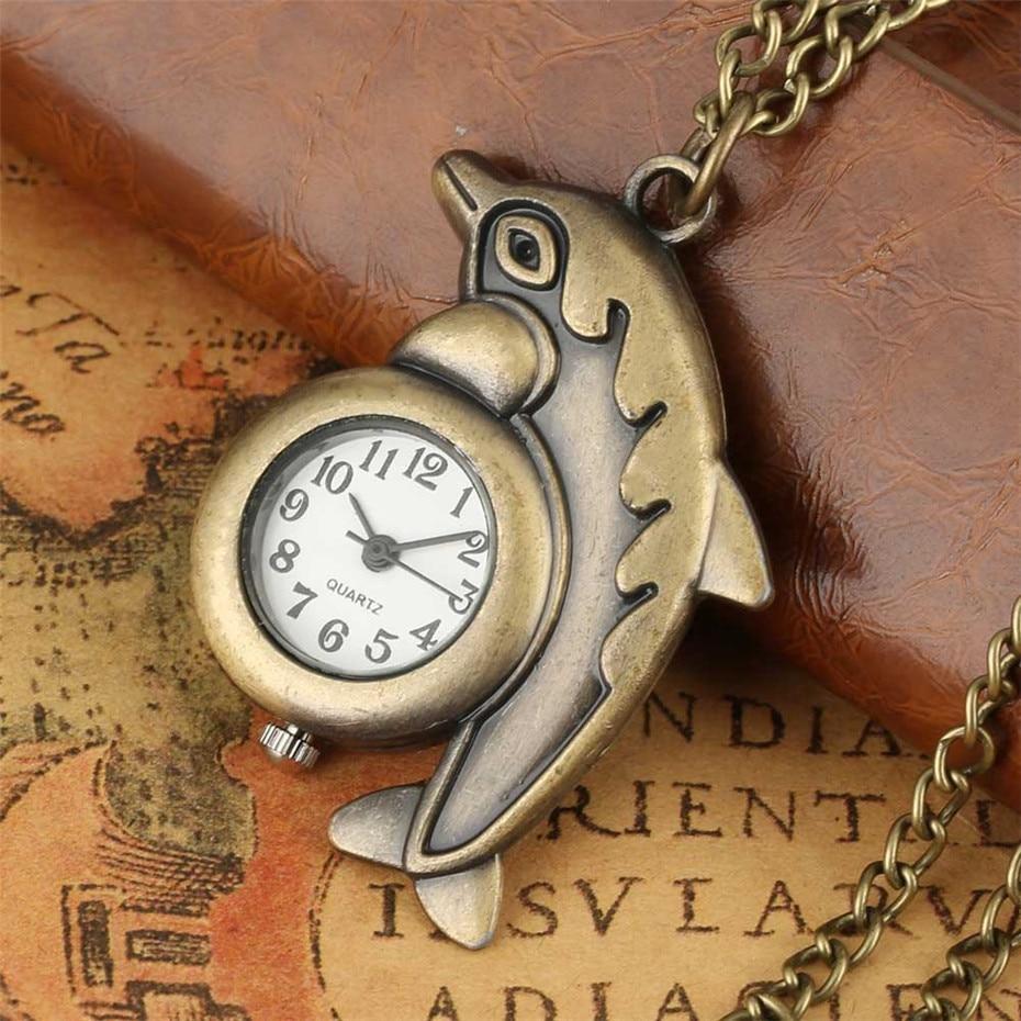 Exquisite Retro Bronze Dolphin Design Creative Mini Quartz Pocket Watch With Fob Necklace Sweater Chain