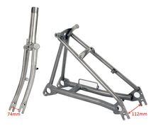 "Garfo de titânio para bicicleta brompton, garfo de titânio para bicicleta 1 e 1/8 "" rosqueado + triângulo traseiro fit brompton bike"