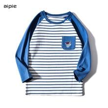 Boys T-shirts Cartoon pattern Striped Long sleeves Children t-shirts cotton 100% Kids clothing