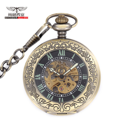 Antique Luxury Brand Steampunk Skeleton Mechanical Pocket Watch Men Necklace Pocket & Fob Watches Chain Male Clock