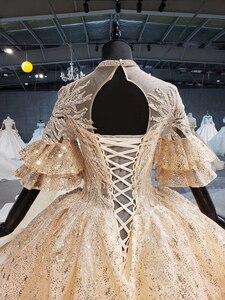 Image 5 - 2020 חדש נפוח קצר שרוולים o צוואר 4 שכבות חצאית וגרם זהב נצנצים כלה שמלת קפלת רכבת